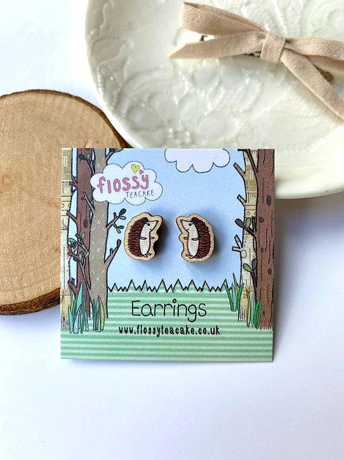3 x Hedgehog Wooden Earrings