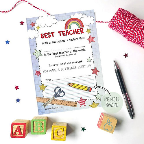 Best Teacher Certificate and Pencil Badge