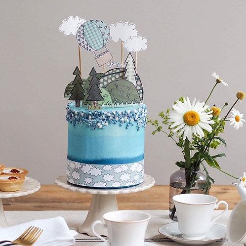 Blue Hot Air Balloon Cake Topper