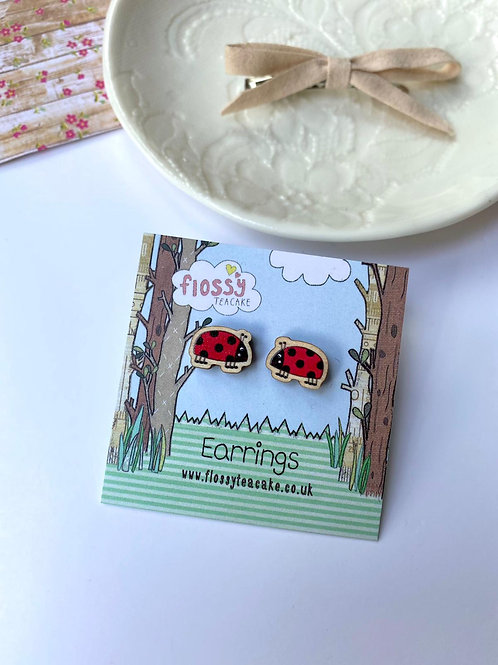 3 x Ladybird Wooden Earrings