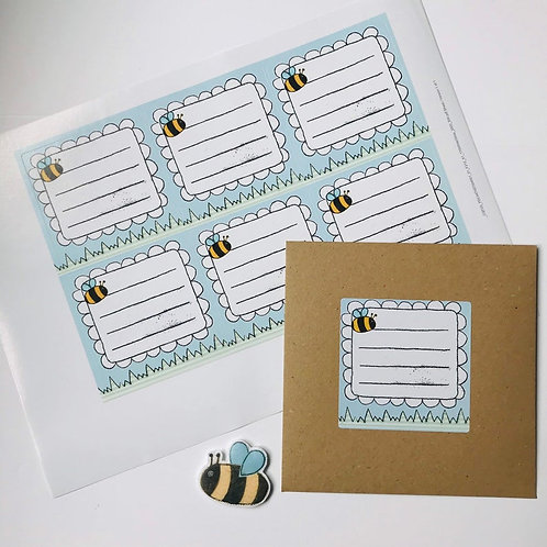 Bee Address Stickers - Sheet of 6