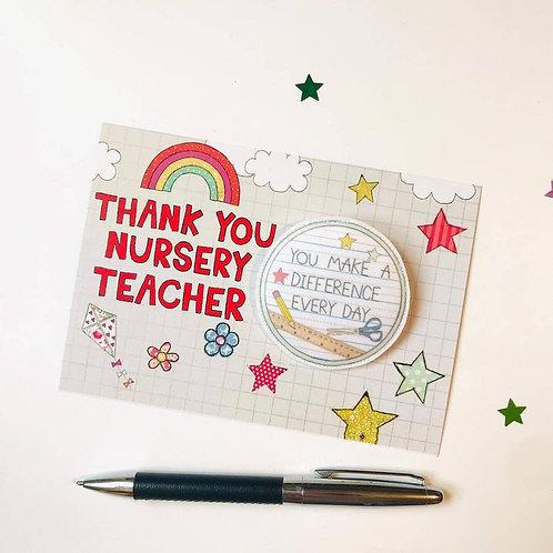 3 x Thank you Nursery Teacher Badge