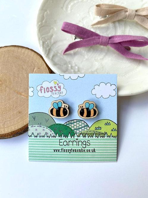 Bee Wooden Earrings