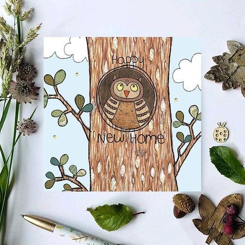 3 x New Home Owl Woodland Card
