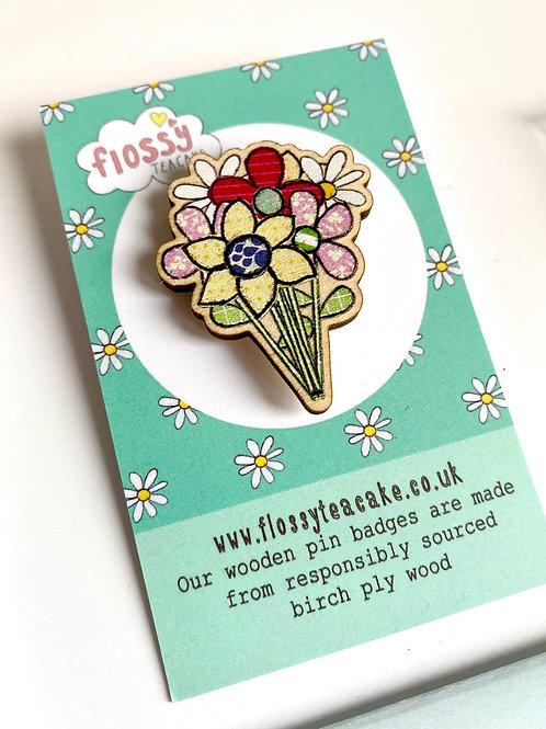 Flower Bouquet Wooden Pin Badge