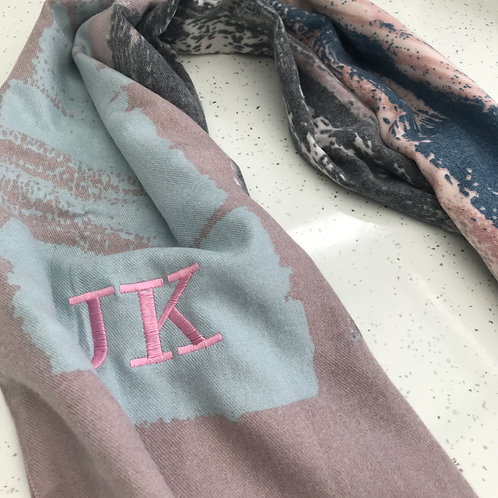 Lilac/Light blue Patch Personalized InitiaL Scarfs