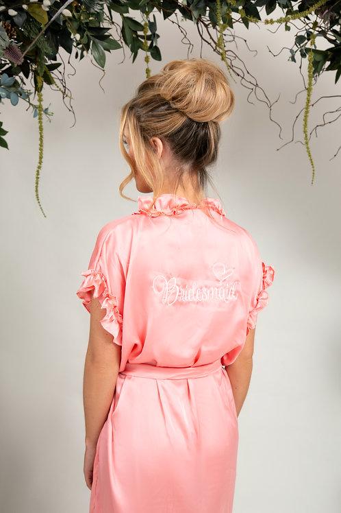 Ruffled Blush Bridal Dressing Gown