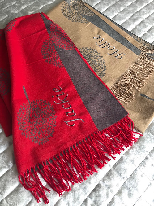 Cashmere Name Scarf In Tree Print