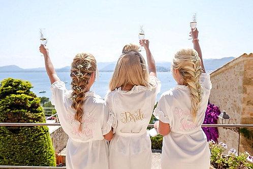 Ruffled White Bridal Dressing Gown