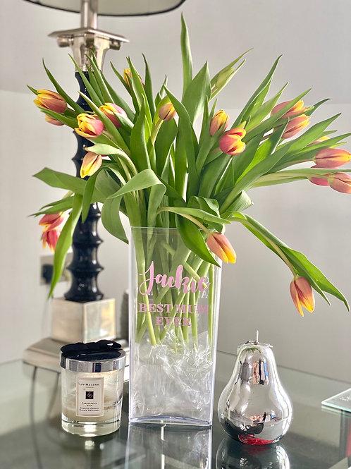 Acrylic Personalised Flower Vase
