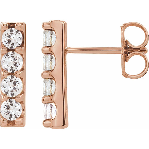 1/2 CTW Lab-Grown Diamond Bar Earrings