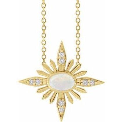 Ethiopian Opal & .08 CTW Diamond Celestial Necklace