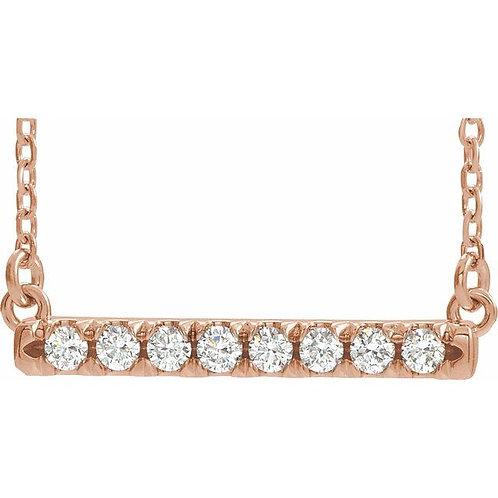 1/4 CTW Lab-Grown Diamond French-Set Bar Necklace