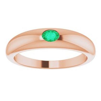 Emerald Petite Dome Ring