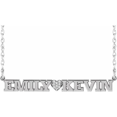 .05 CTW Diamond Couples Nameplate Necklace