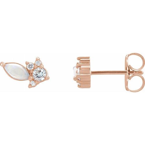 Australian Opal & 1/6 CTW Diamond Cluster Earrings