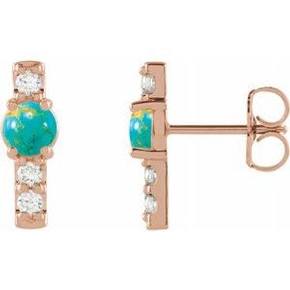 Turquoise & 1/5 CTW Diamond Bar Earrings
