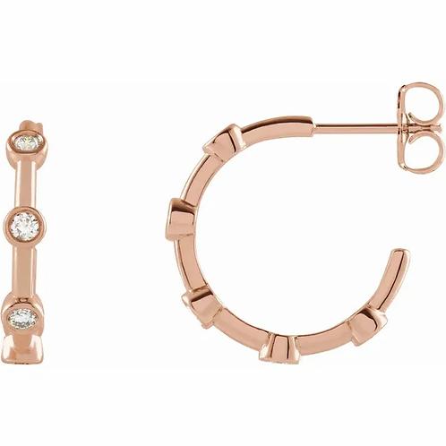 1/3 CTW Diamond Bezel-Set Hoop Earrings