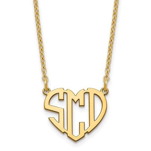 Heart Monogram Cutout Necklace