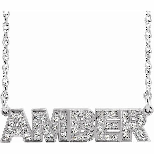 Diamond Accented Nameplate Necklace