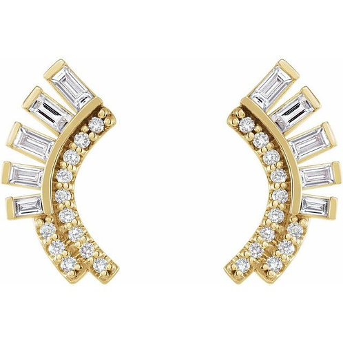 14K Diamond Fan Earrings