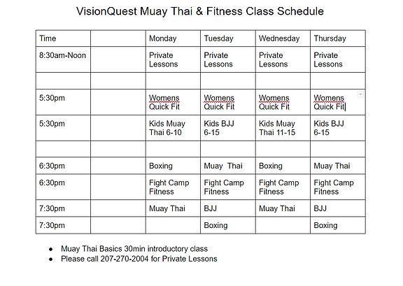 Schedule, Classes, Muay Thai, Vision Quest