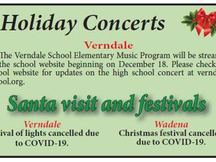 Holiday Concerts, Santa Visits and festivals