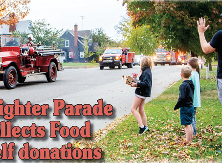 Firefighter Parade collects FoodShelf donations
