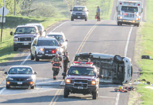 Rollover accident injures one