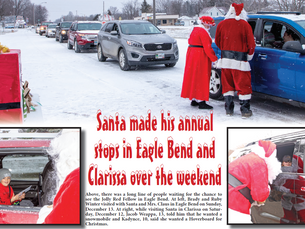Santa made his annual stops in Eagle Bend and Clarissa over the weekend