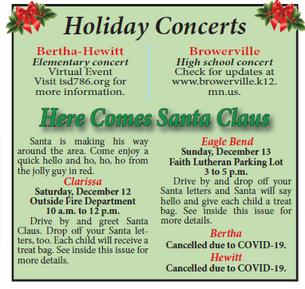 Holiday Concerts and Santa visits