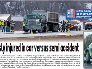No one seriously injured in car versus semi accident