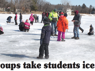 Local groups take students ice fishing