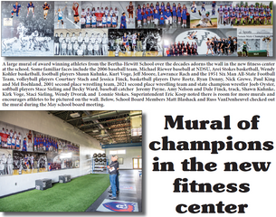 Mural of champions in the new fitness center