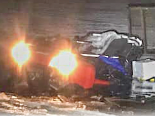 ATV and trailer go through ice