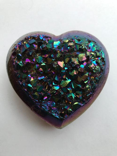 Titanium Aura Quartz Heart Cluster