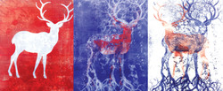 """""""Decompose"""" - monotype triptych"""