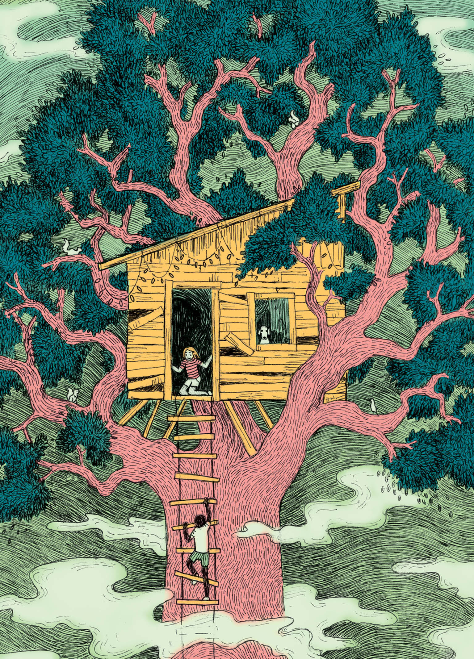 """Treehouse"" pen & ink, digital"
