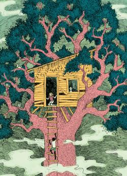"""""""Treehouse"""" pen & ink, digital"""