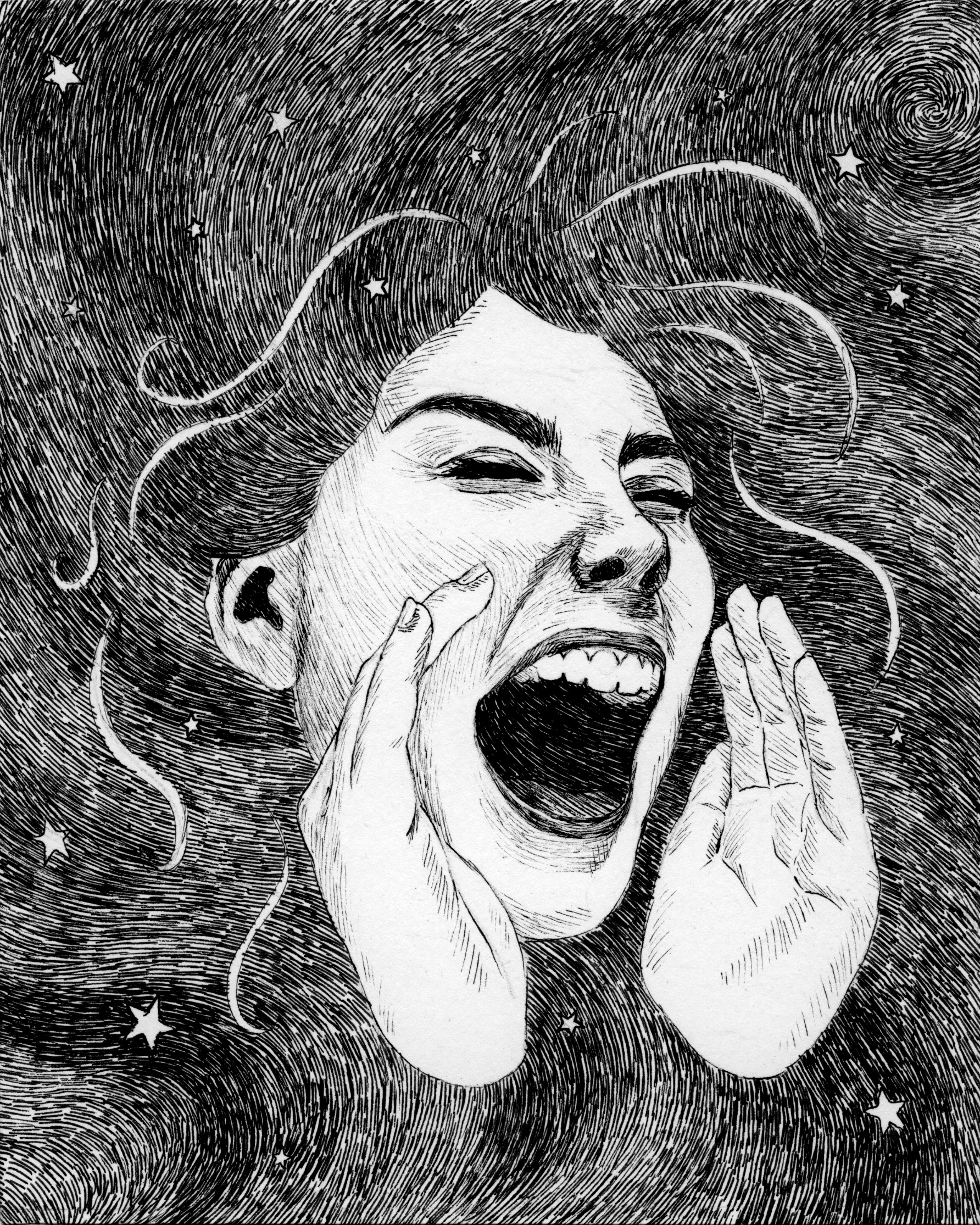 """Scream"" - pen and ink"