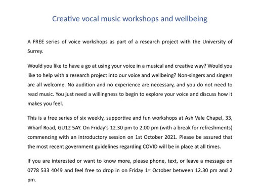 Creative Vocal Workshops - book now!