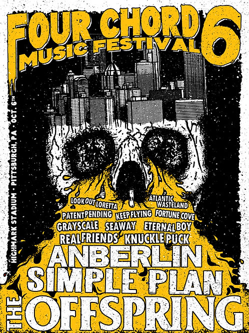 Four Chord Music Fest 6 Screen Printed Poster