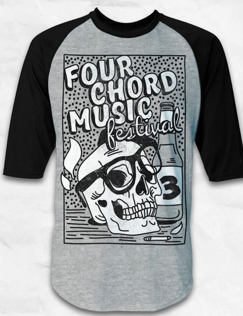 Four Chord Music Fest 3 Skull Baseball Tee Four Chord Music Fest