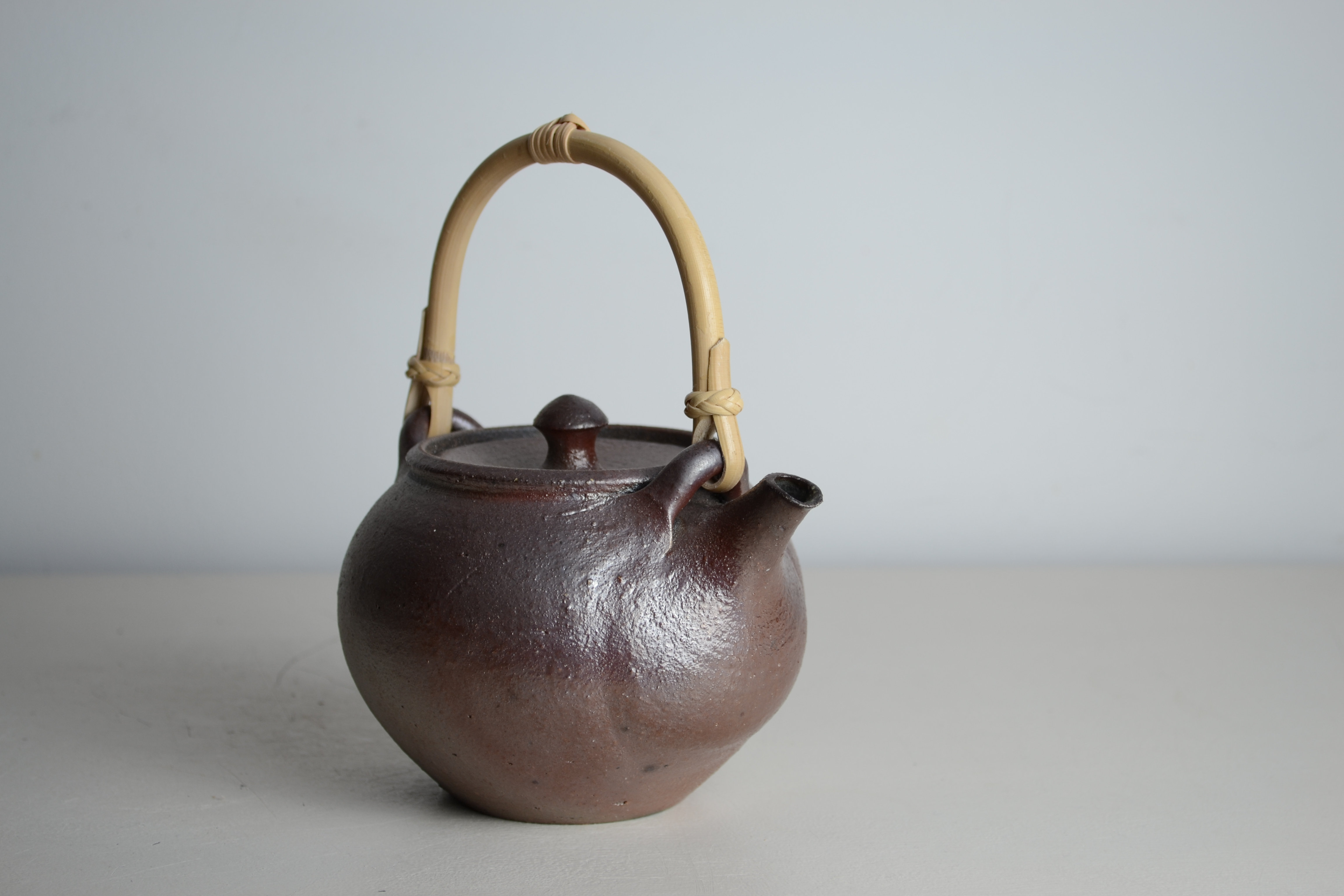 Teapot Unglazed Celadon Interior With Cane Handle Mysite