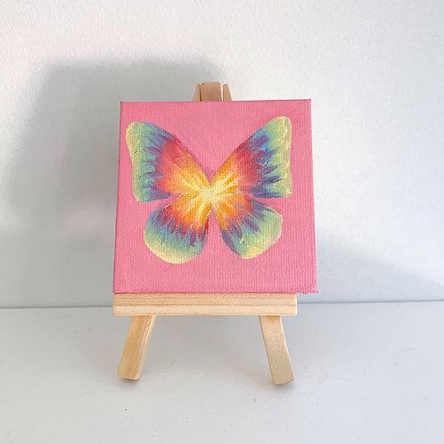 tie dye butterfly on pink
