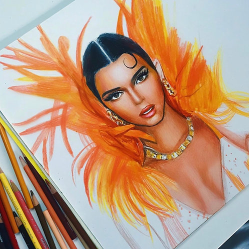 Kendall Jenner colored pencil sketch