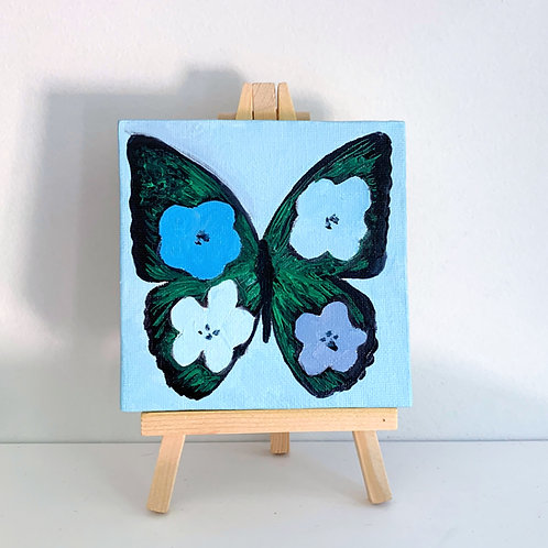 Warhol inspired flower butterfly - blue