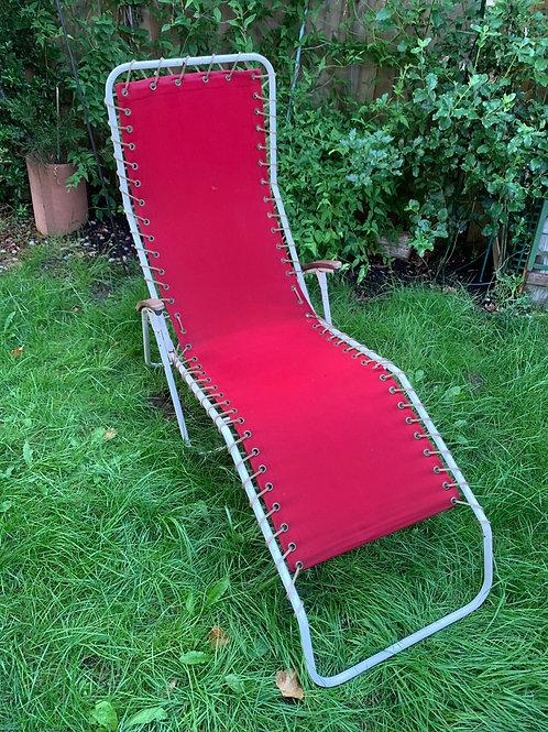 Original Danish 60's tilting folding sun lounger
