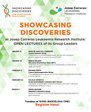 Showcasing Discoveries 2021 at the Josep Carreras Leukaemia Research Institute: Open Lectures of its Group Leaders