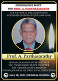 Condolence Meet for Prof. A Parthasarathy